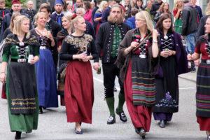 People dressed in national costume at Ólavsøka